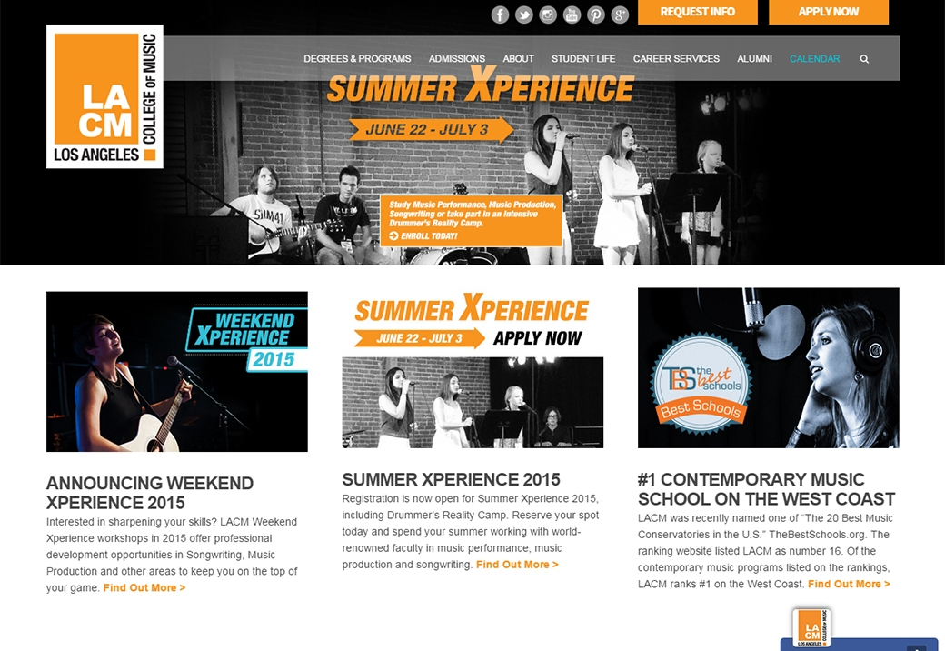 """Facilitated a facelift of  www.lacm.edu  homepage and developed a strategy to update all website content to promote new """"LACM Online,"""" """"Weekend Xperience"""" and """"Summer Xperience"""" programs, alongside new brick and mortar programs in Brass & Woodwinds and Music Business. Updated website copy and imagery to more effectively market LACM Bachelor, Associate and Diploma programs. Developed downloadable informational materials to supplement webpage content. Integrated SEO keywords into copy and metadata. Design and web development was facilitated by consultant teams at Plastic Palmtree, Inc and SSD Solutions."""