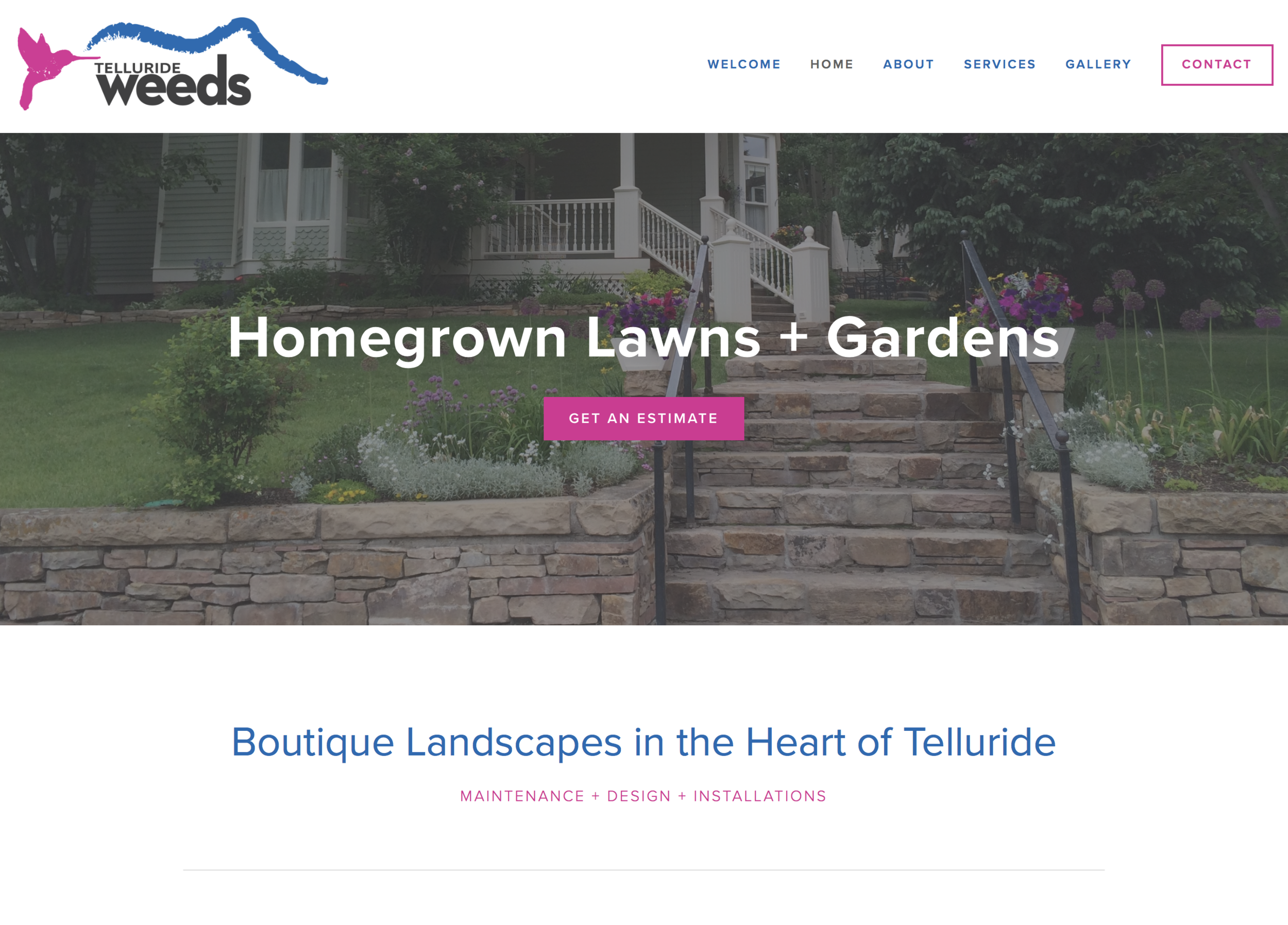Website for Weeds Telluride