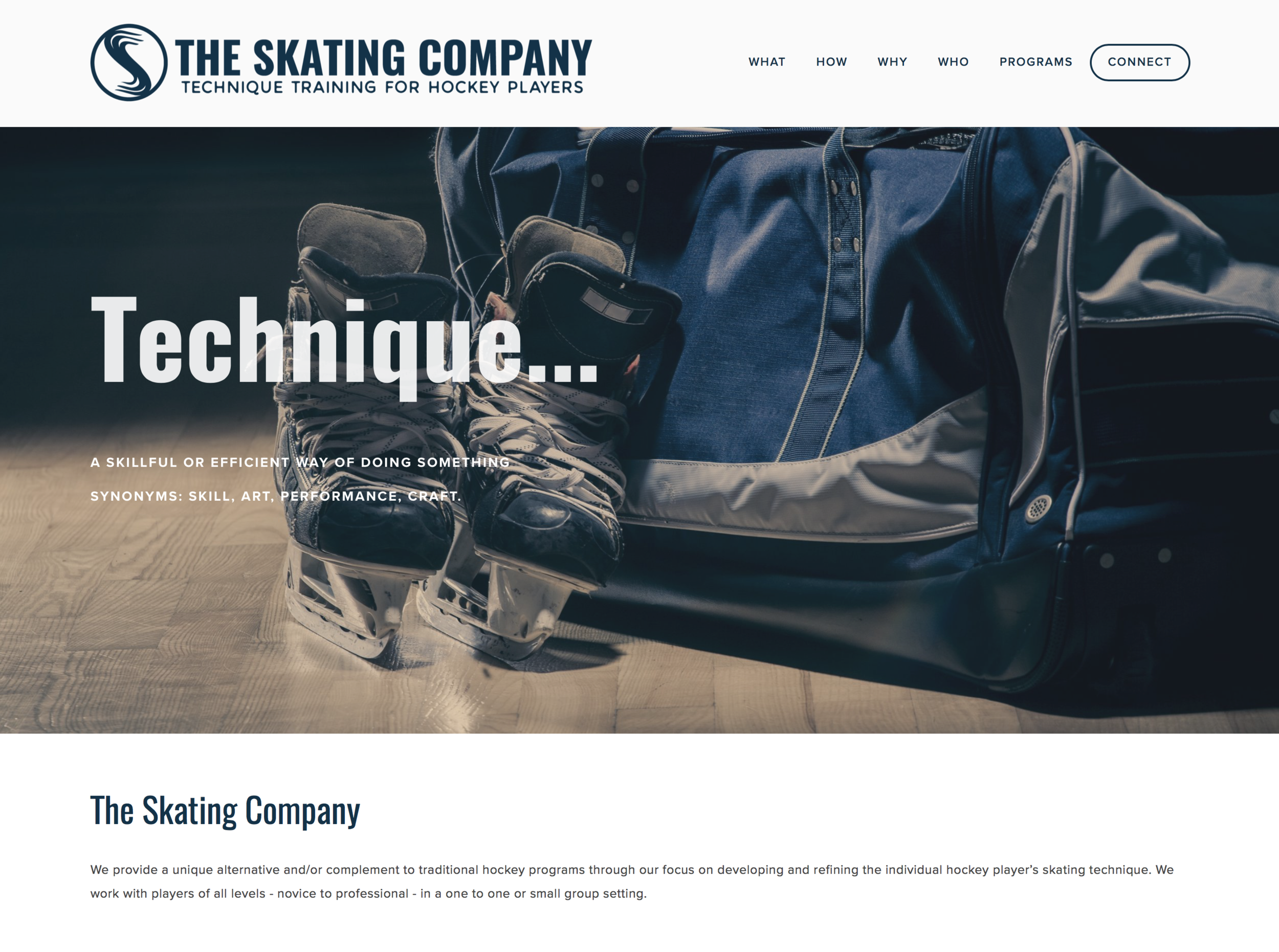 Website for The Skating Company in Alberta, Canada