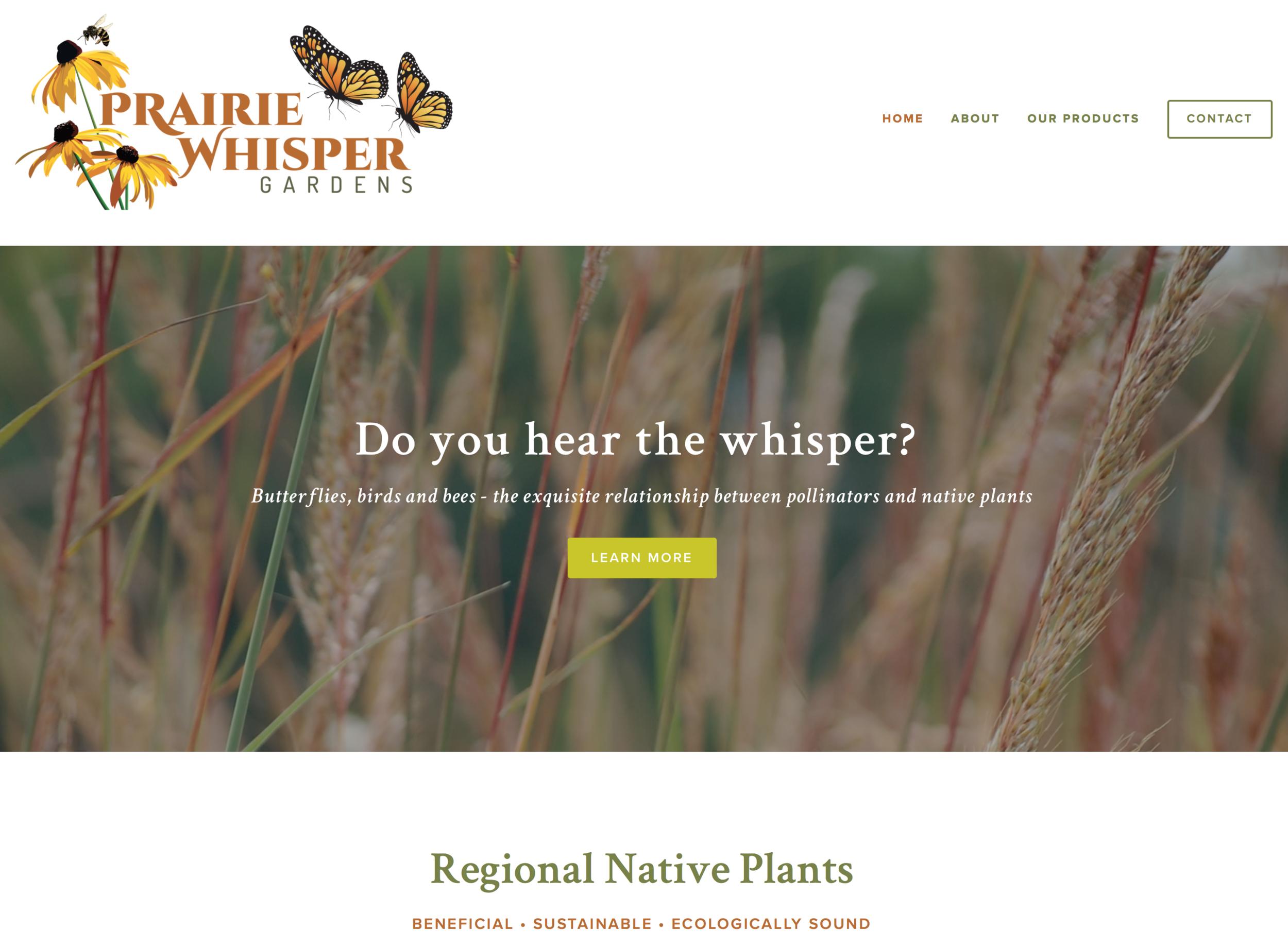 Website for Prairie Whisper Gardens in Spring Hill, KS