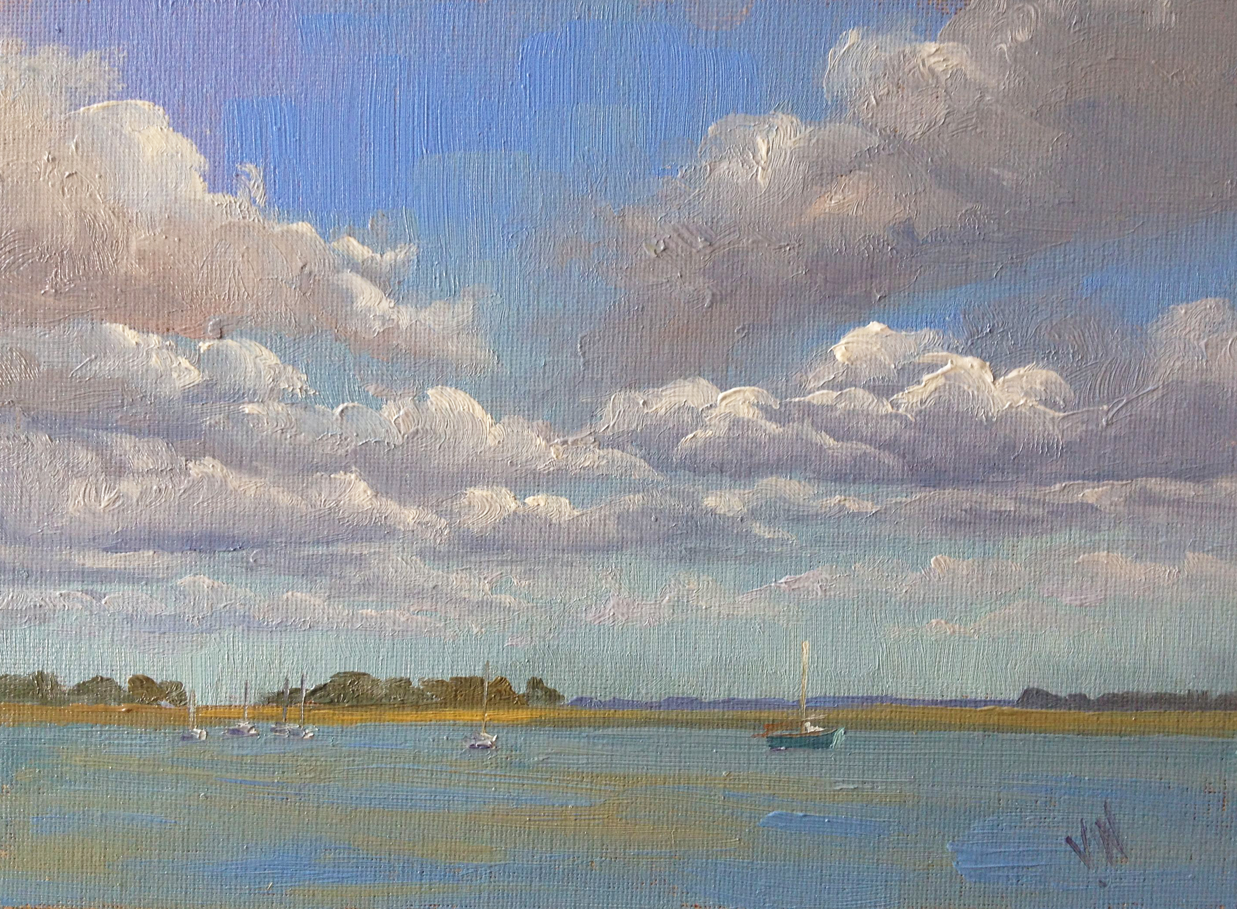 Heybridge Clouds 18x24cm Oil on canvas board