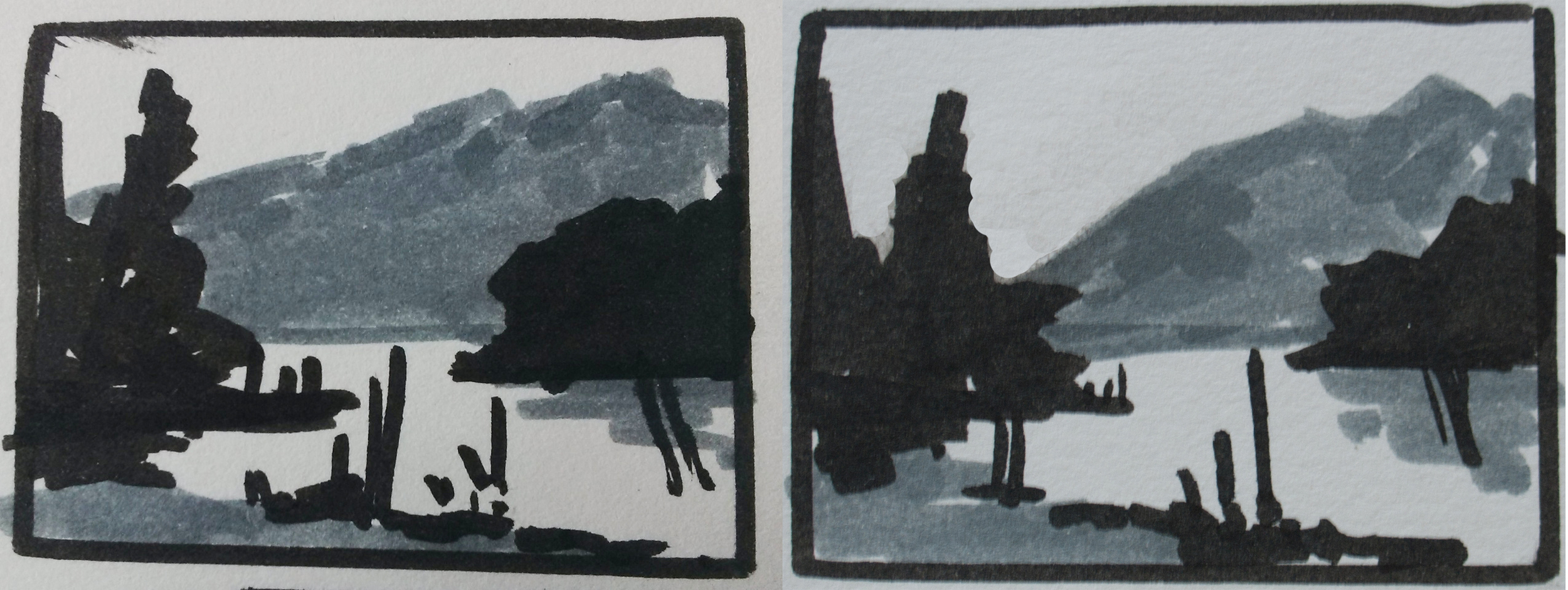 Left: first plan with solid grey hills behind Right: Second plan with light 'V' shape