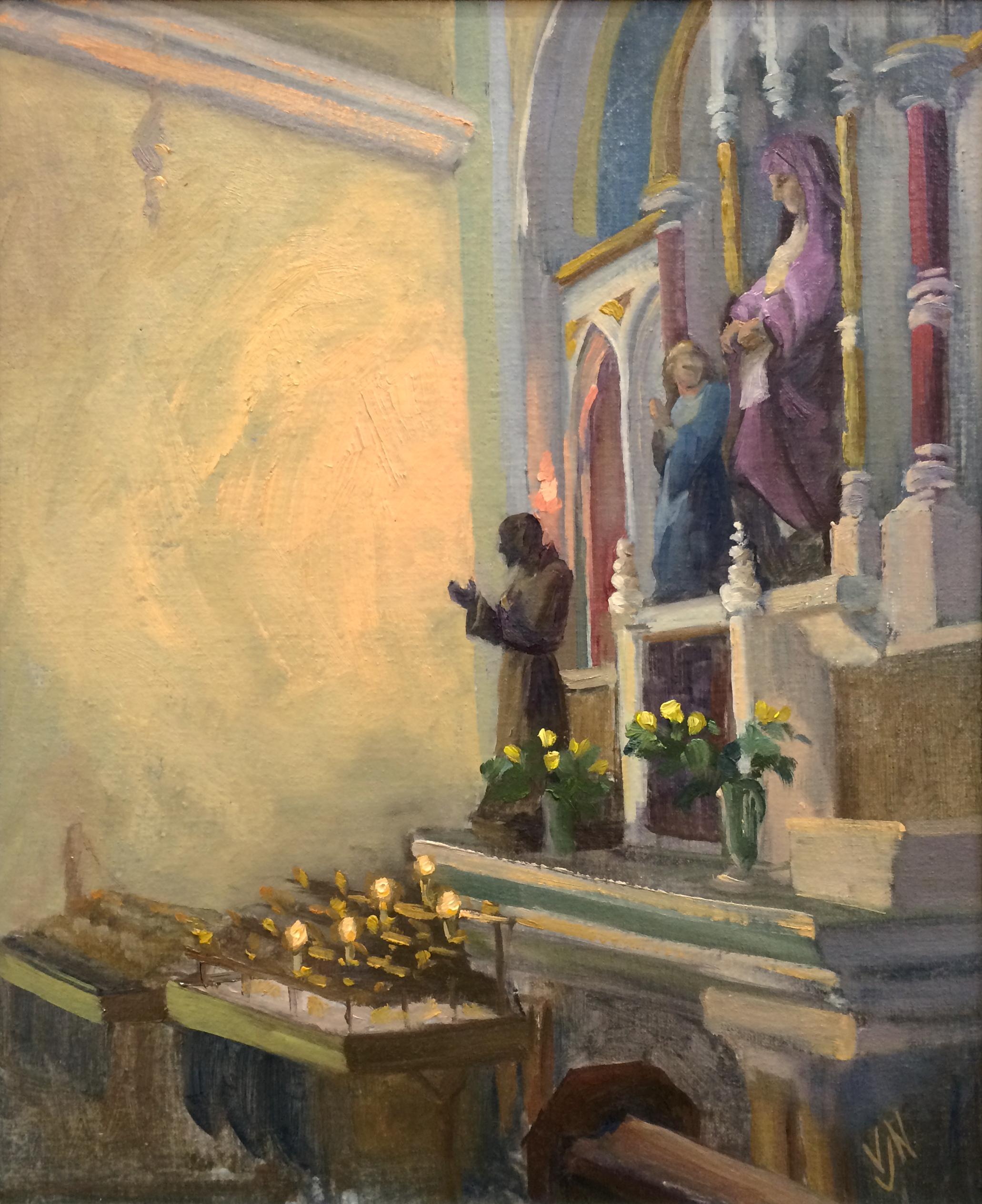 """'Padre Pio' oil on canvas board, 12""""x10"""""""