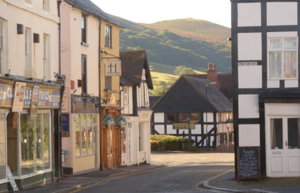 Picturesque Church Stretton with the hills behind