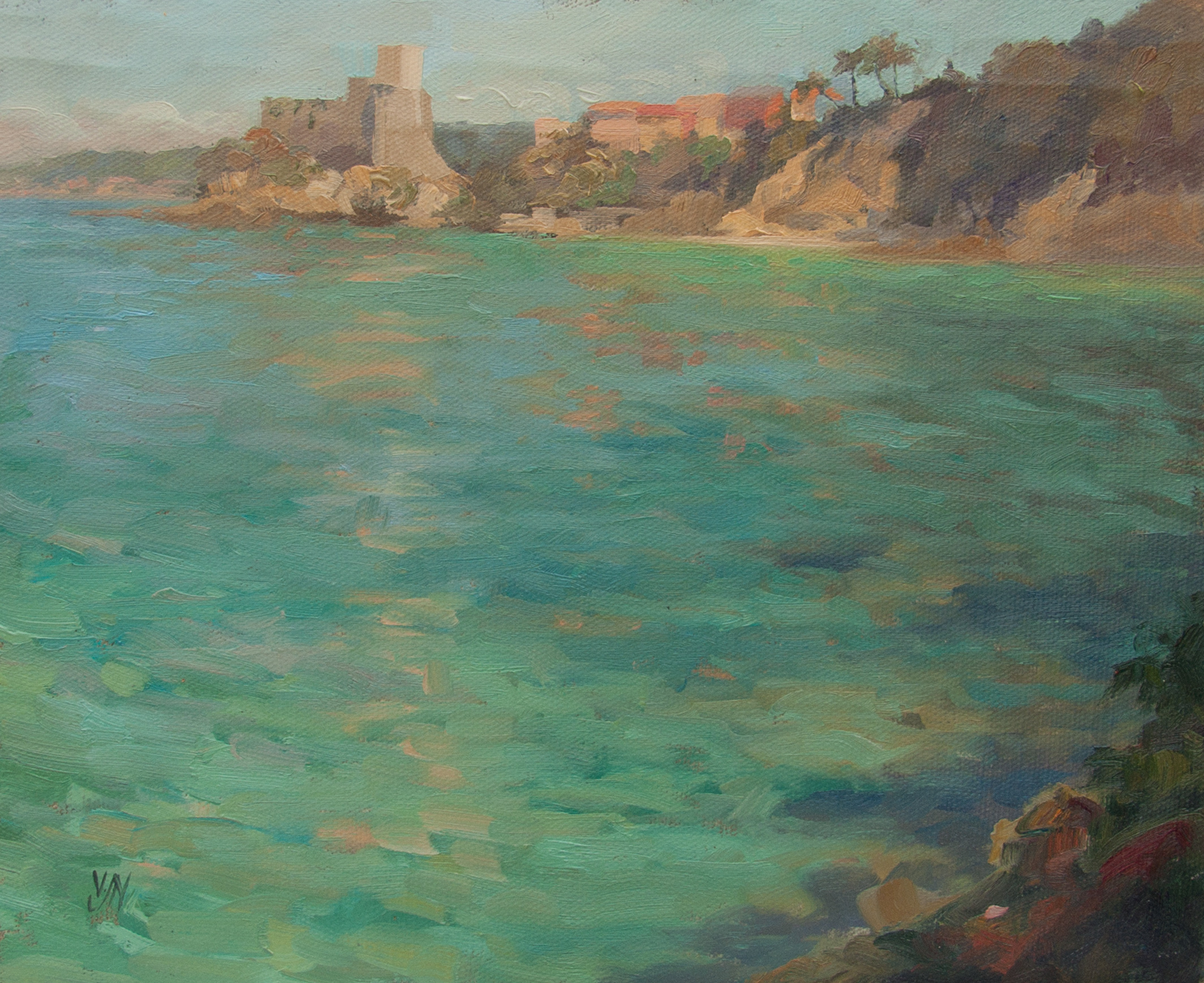 Time for a Swim, Lerici. Paintings from my travels at Higham Hall.
