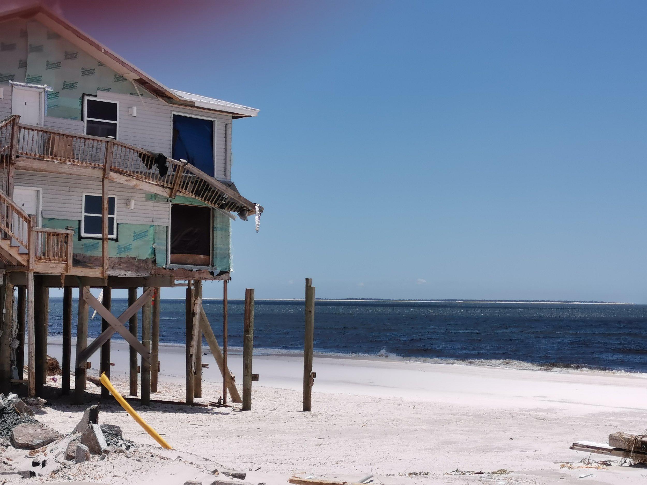 Damaged beach house