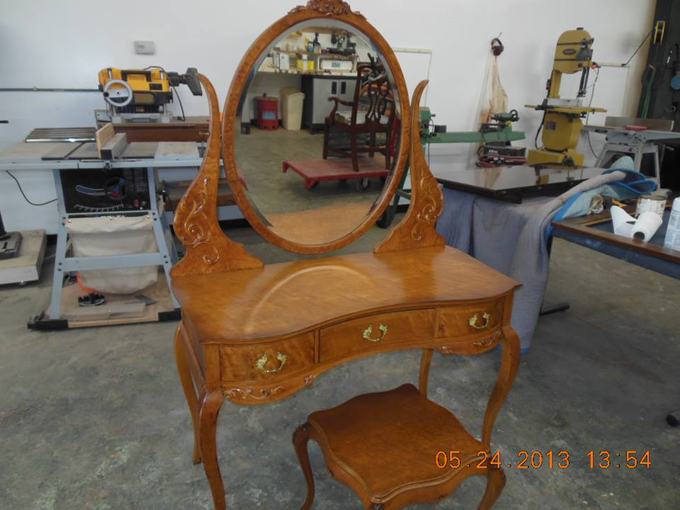 Completed work on the John Widdicomb Vanity set today. I do believe the client will be pleased..jpg