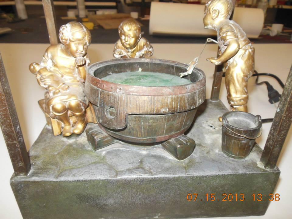 1934 Oswald Schimmedlpfenning Bronze Art Glass Lamp