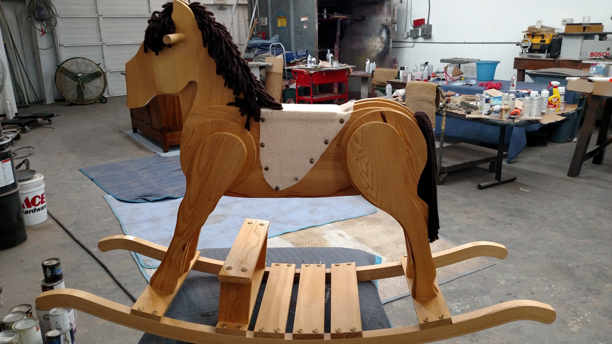 Child's heirloom rocking horse in my shop to get a new nose