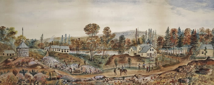Gatling Gold Mine 1872, water colour, pen & ink by C. Walker, now in the R.O.M.
