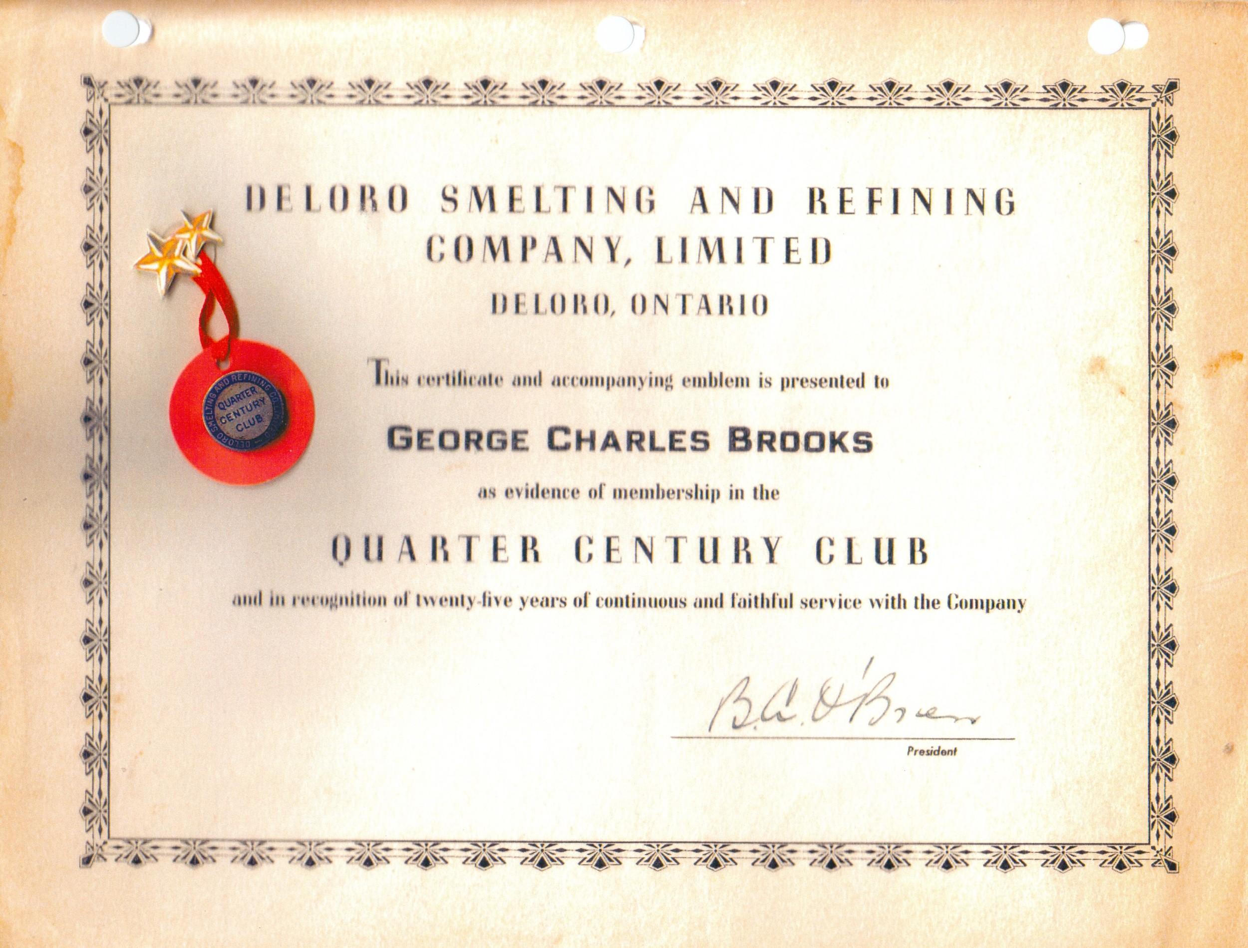 Brooks, Deloro Smelting & Refining,  quarter Century Club.jpg