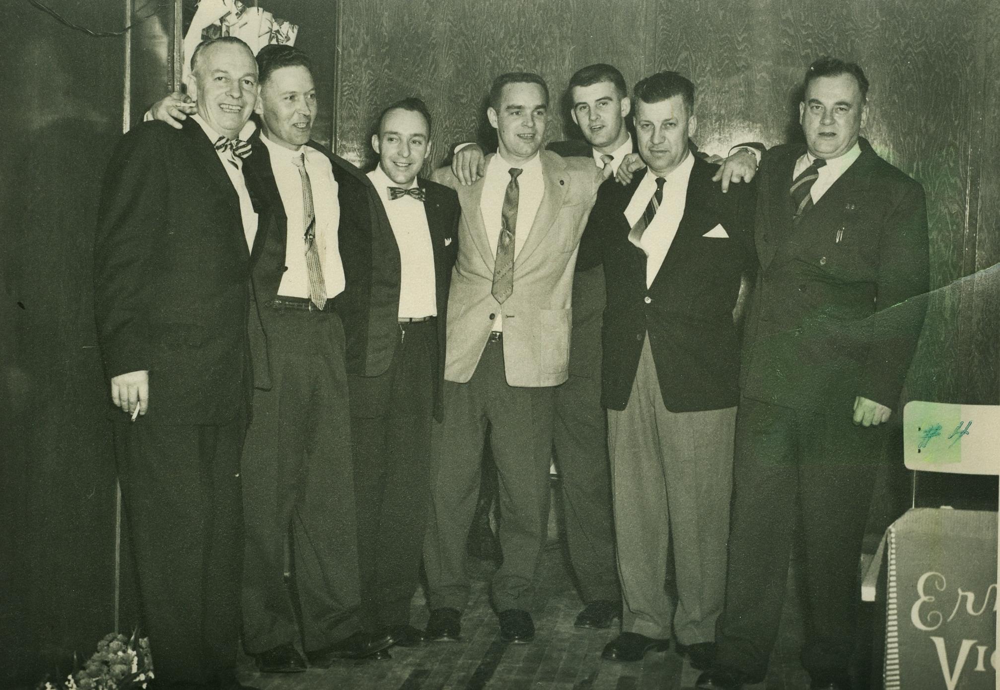 . Bill MacDonald, Maurice Fenton Cecil Bell, George 'Buck' Mantle; ; Glen Derry; George Osborne, Bill Monk;