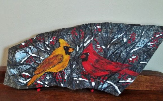 Two Cardinals on Rock