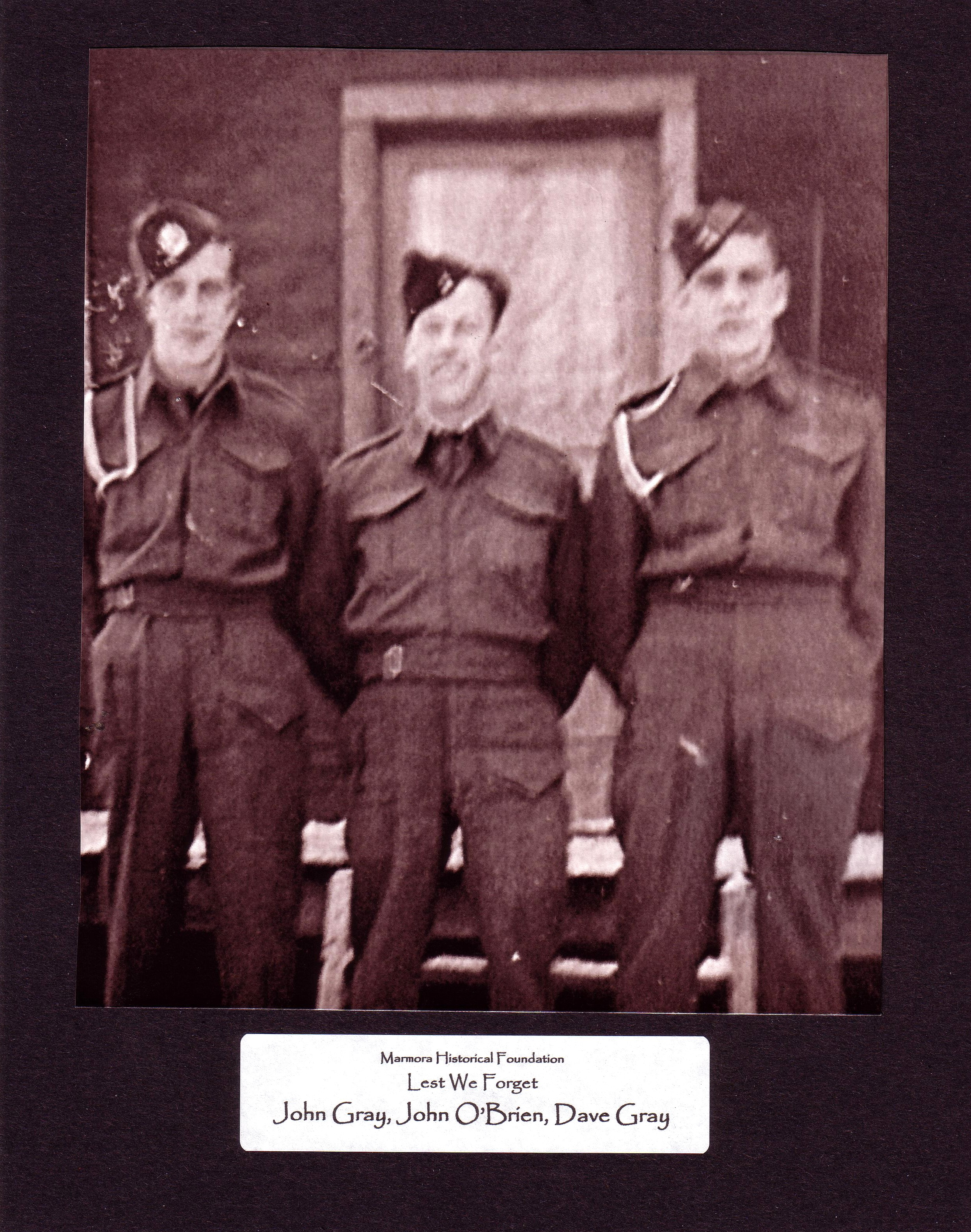 John O'Brien, centre, killed in action