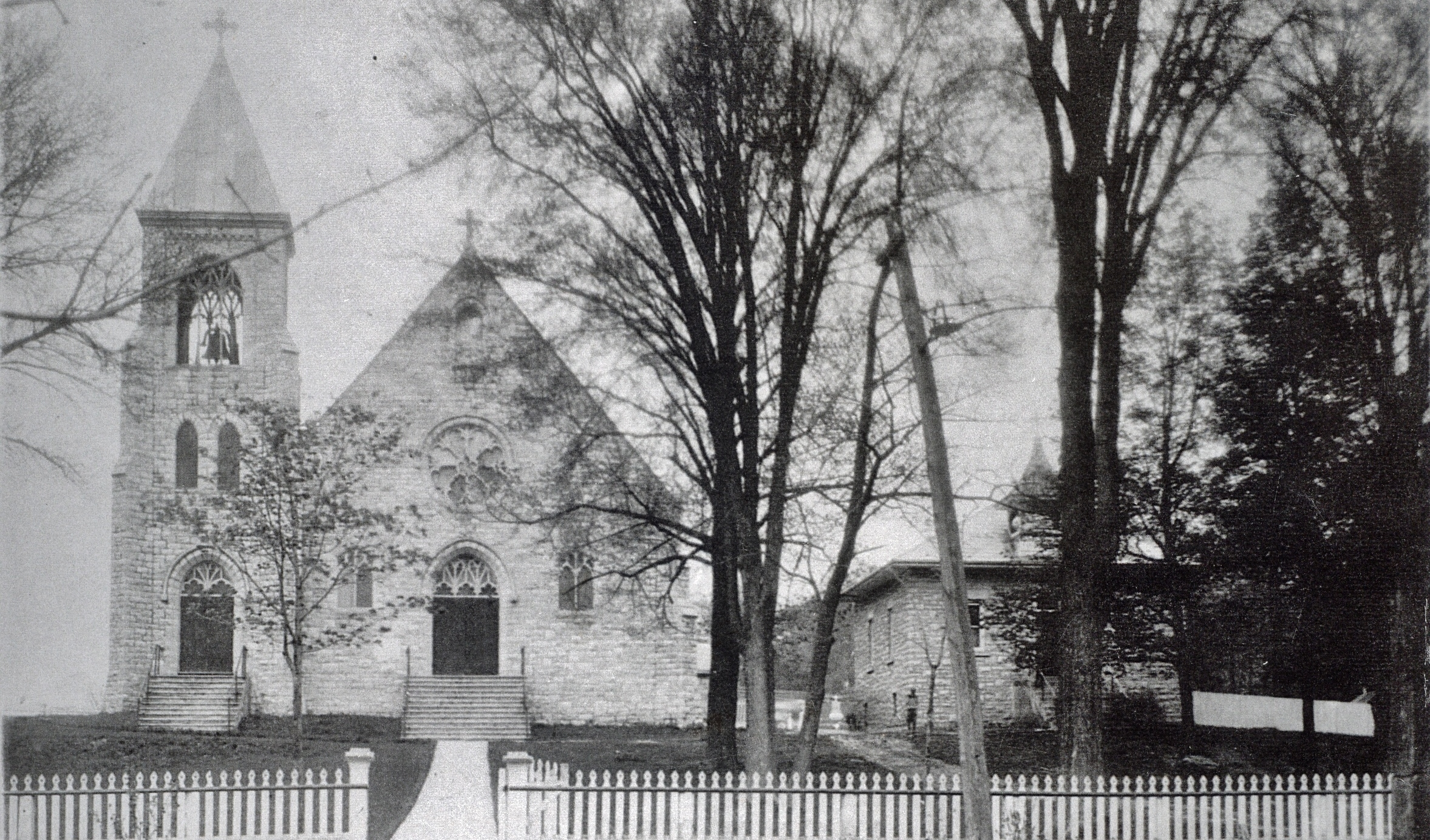 1915 Roman Catholic Church, Marmora, with school, the year the school was built