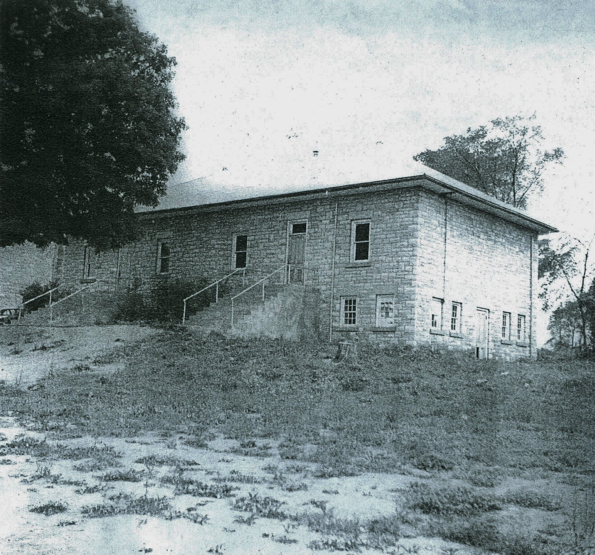 Two Room school house with basement for storage and old two seater toilets, built in 1922