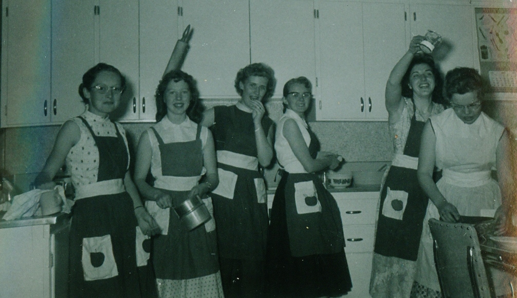 1956-1957 Marmora High School , Home Economics, Helen Hulsman, Mario Wells, Marilyn Grade 12 Fox, Janie Fox, Patricia Spry, Soili Lassila