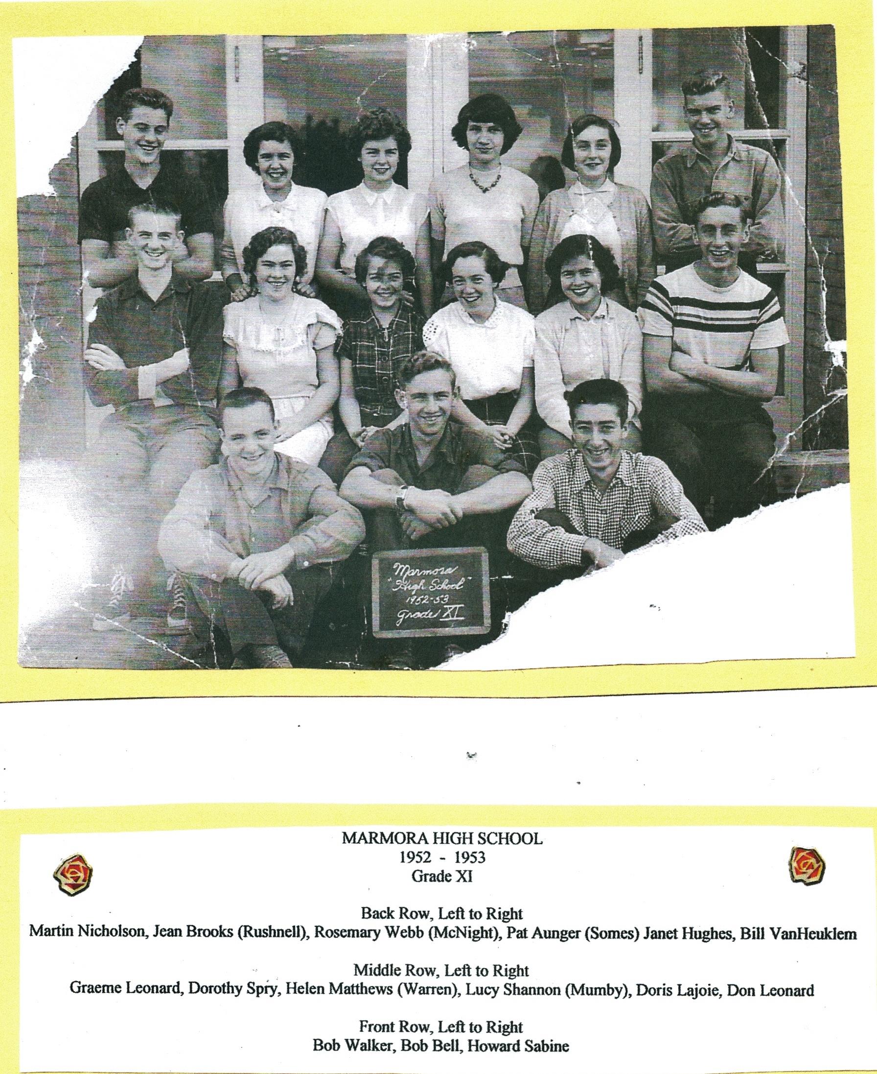 1952-1953 Marmora High School Grade 11,.jpg