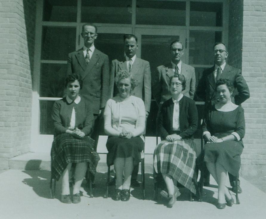 1956-1957 Staff, Leighton McGuinnes, Leonard Begley Principal, Harry Jenkins, Jack Doran, Muriel Swayne , Helen Brady, Patricia Tockl, Anne Nickle