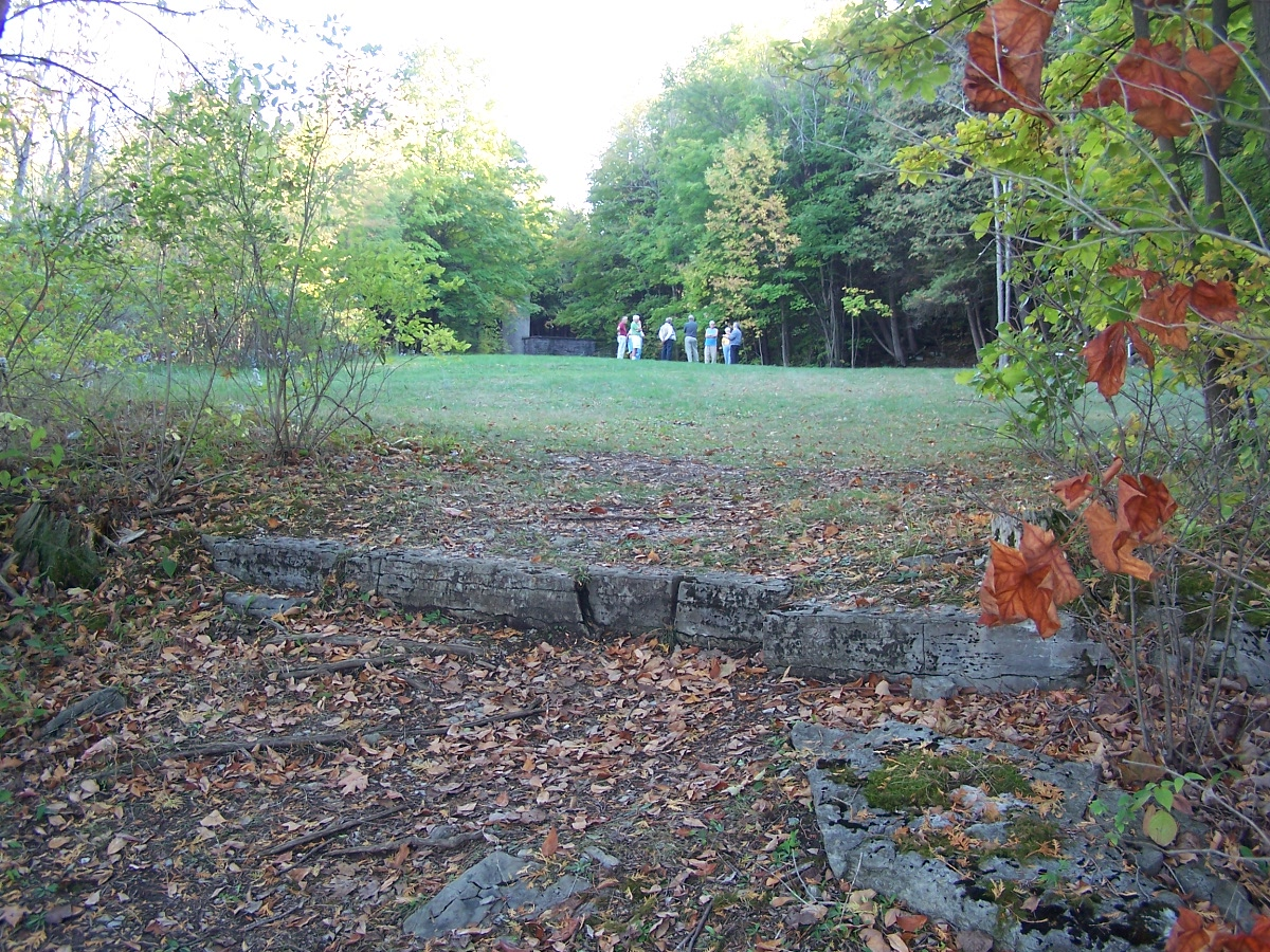 Area where wooden bridge landed at the churchyard