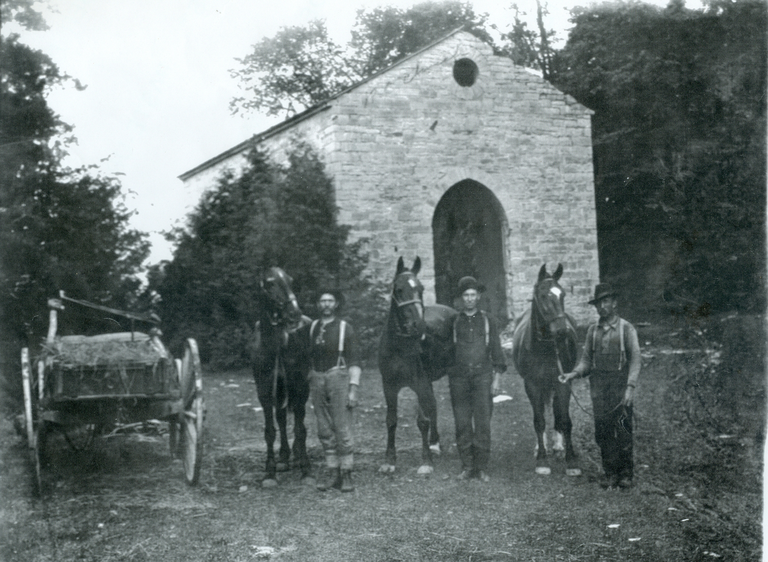St. Matilda's, Marmora, River drivers John McQuigge, George McQuigge and Enlaw of Campbellford, c 1900