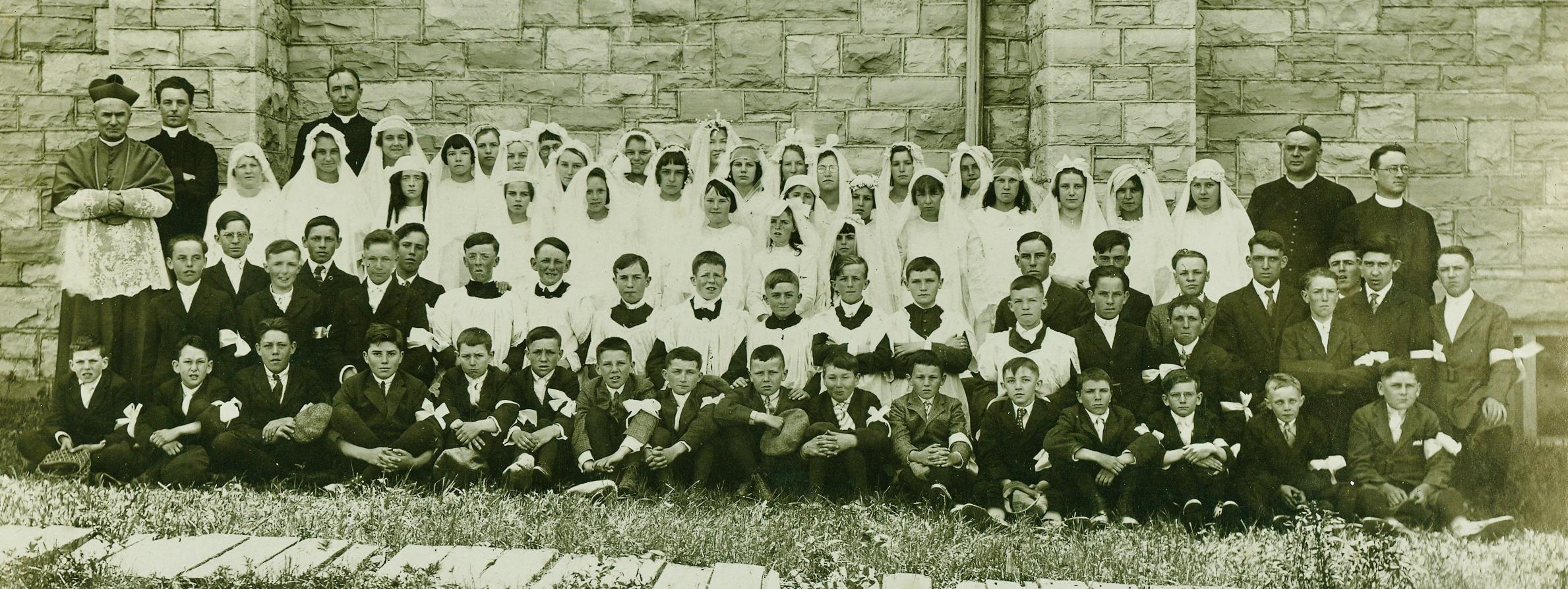 Sacred Heart Confirmation class, Father O'Reilly's time, ArchBishop Spratt, Father Corrigan, circa 1926