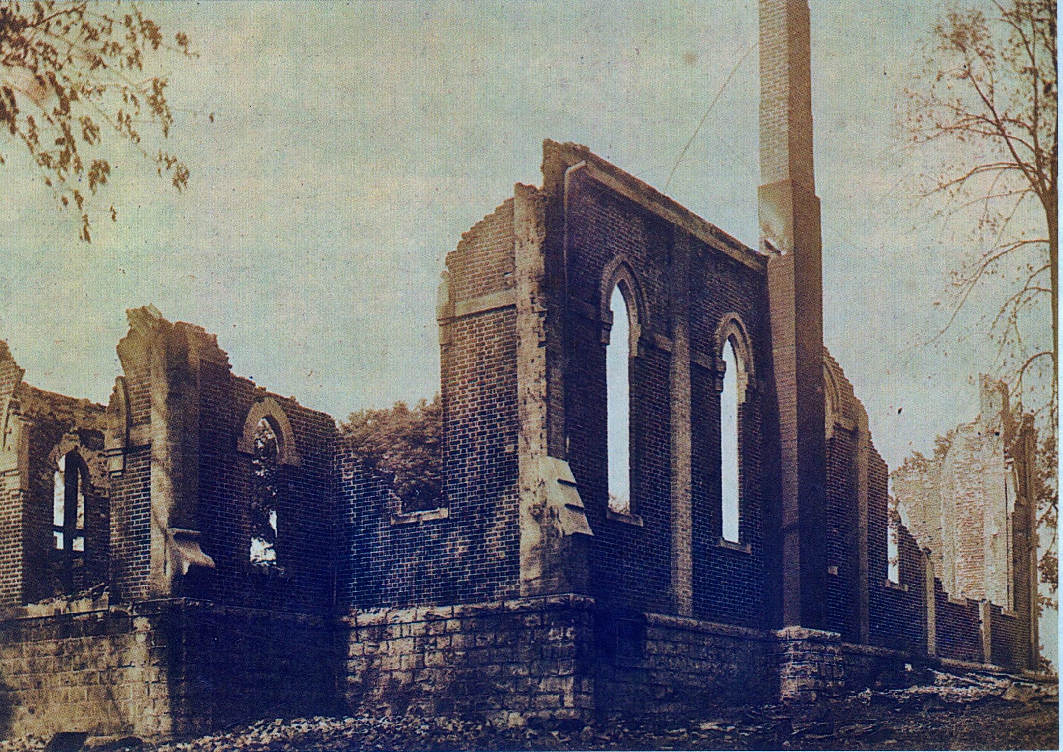 Ruins of brick Roman Catholic Church,  1903