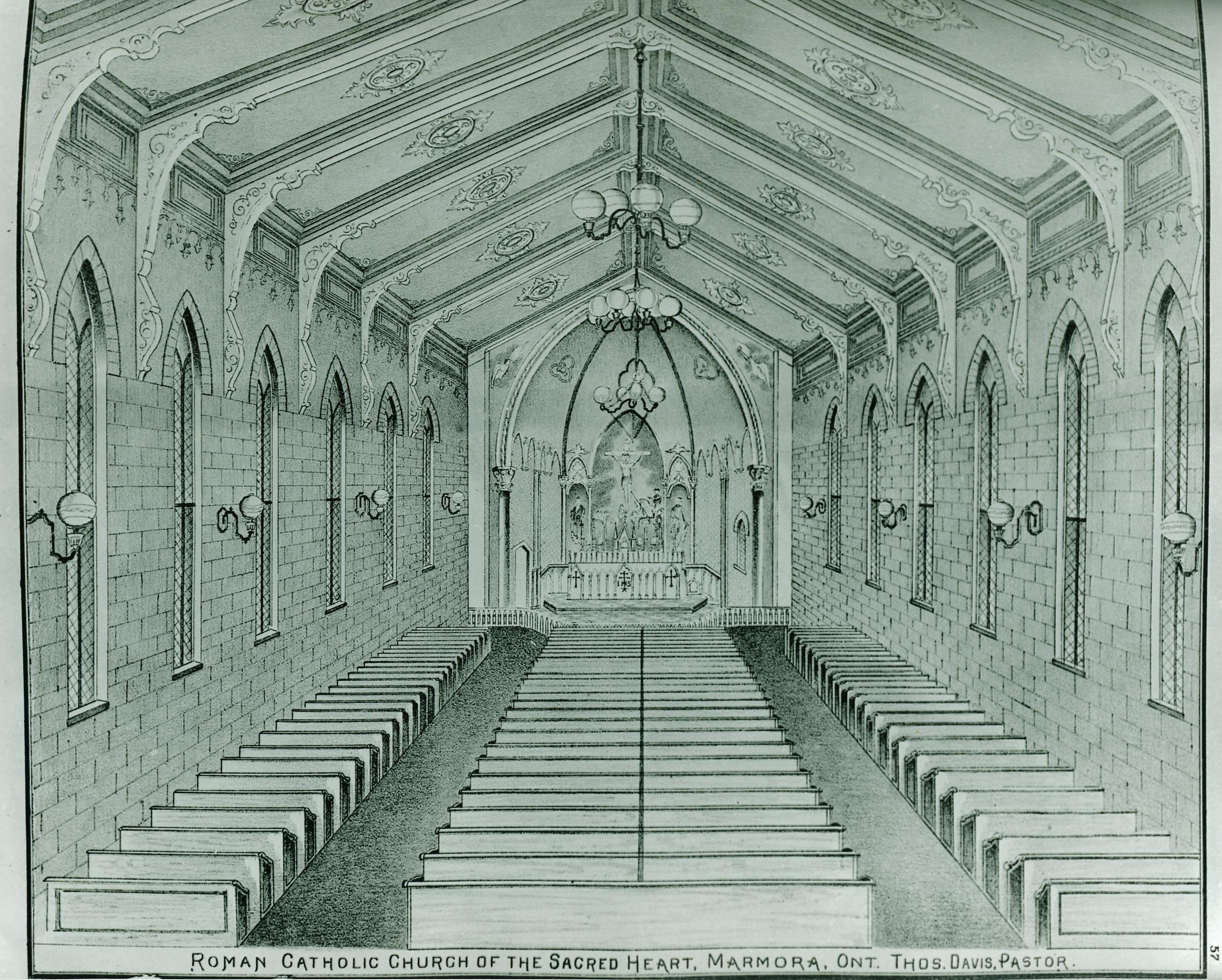 Sketch in Historical Hastings Atlas of interior of brick church built in 1875