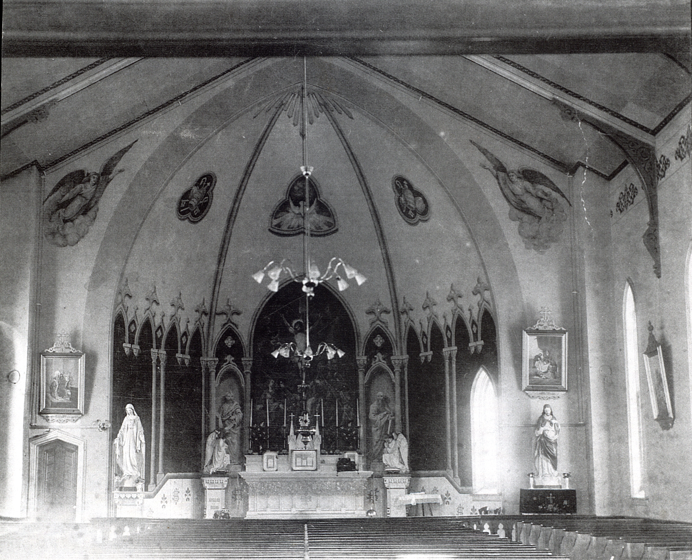Interior of Brick church built in 1875