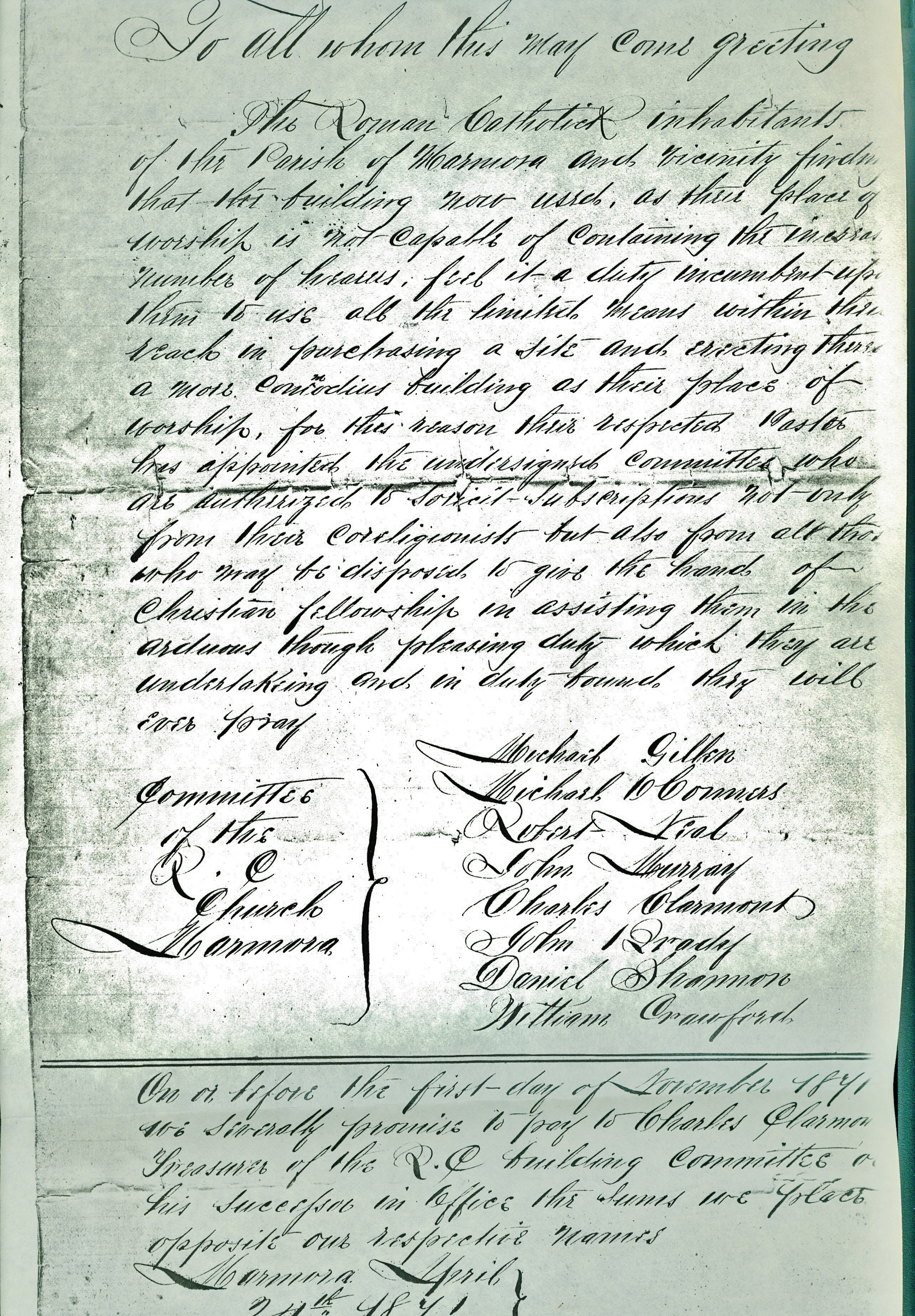 Sacred Heart Church, Notice of committee of intention to build,   1871.jpg