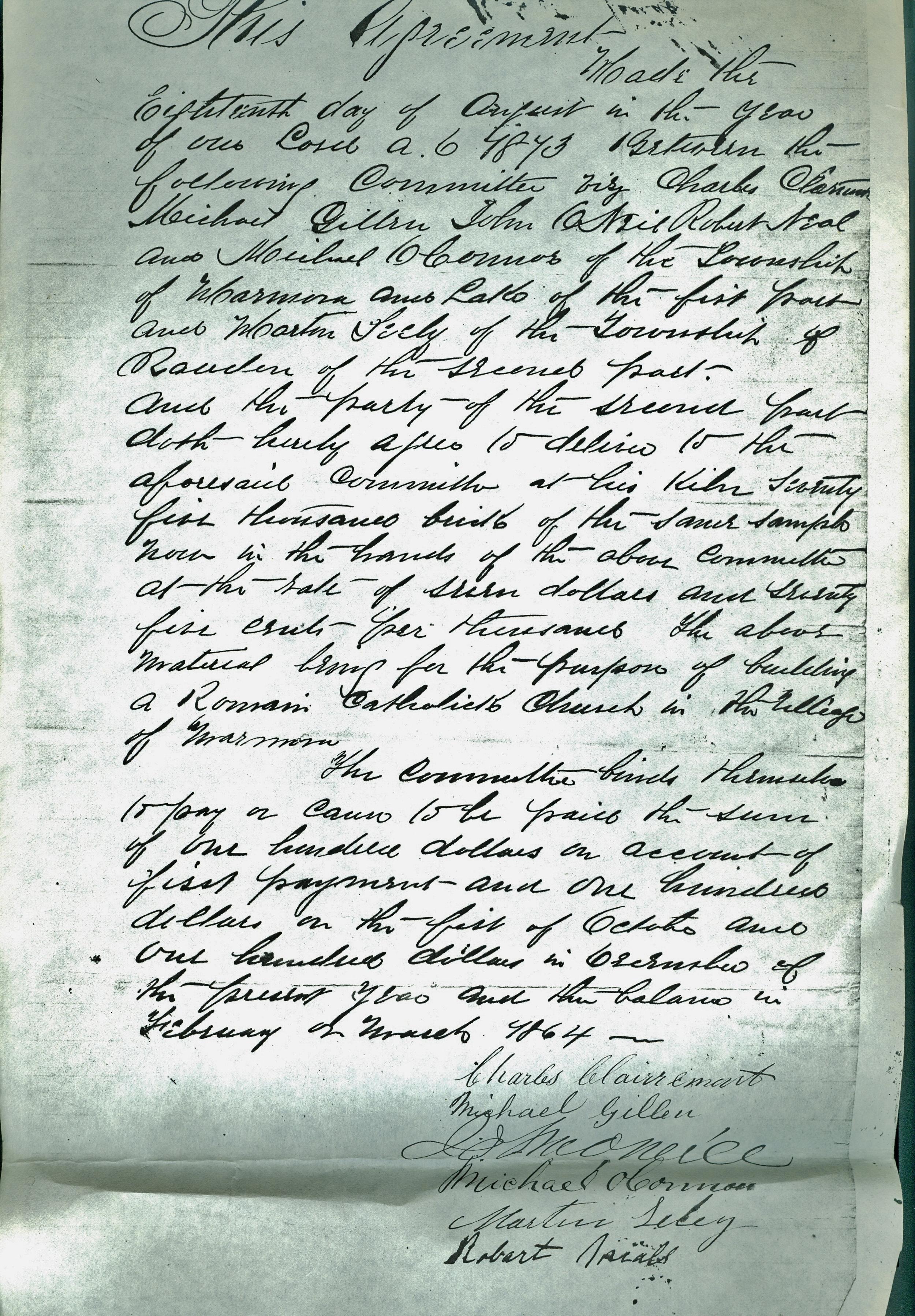 Sacred Heart Church,  Agreemt to buy  75,000 bricks for $7.75 per thousand, Aug. 1873.jpg