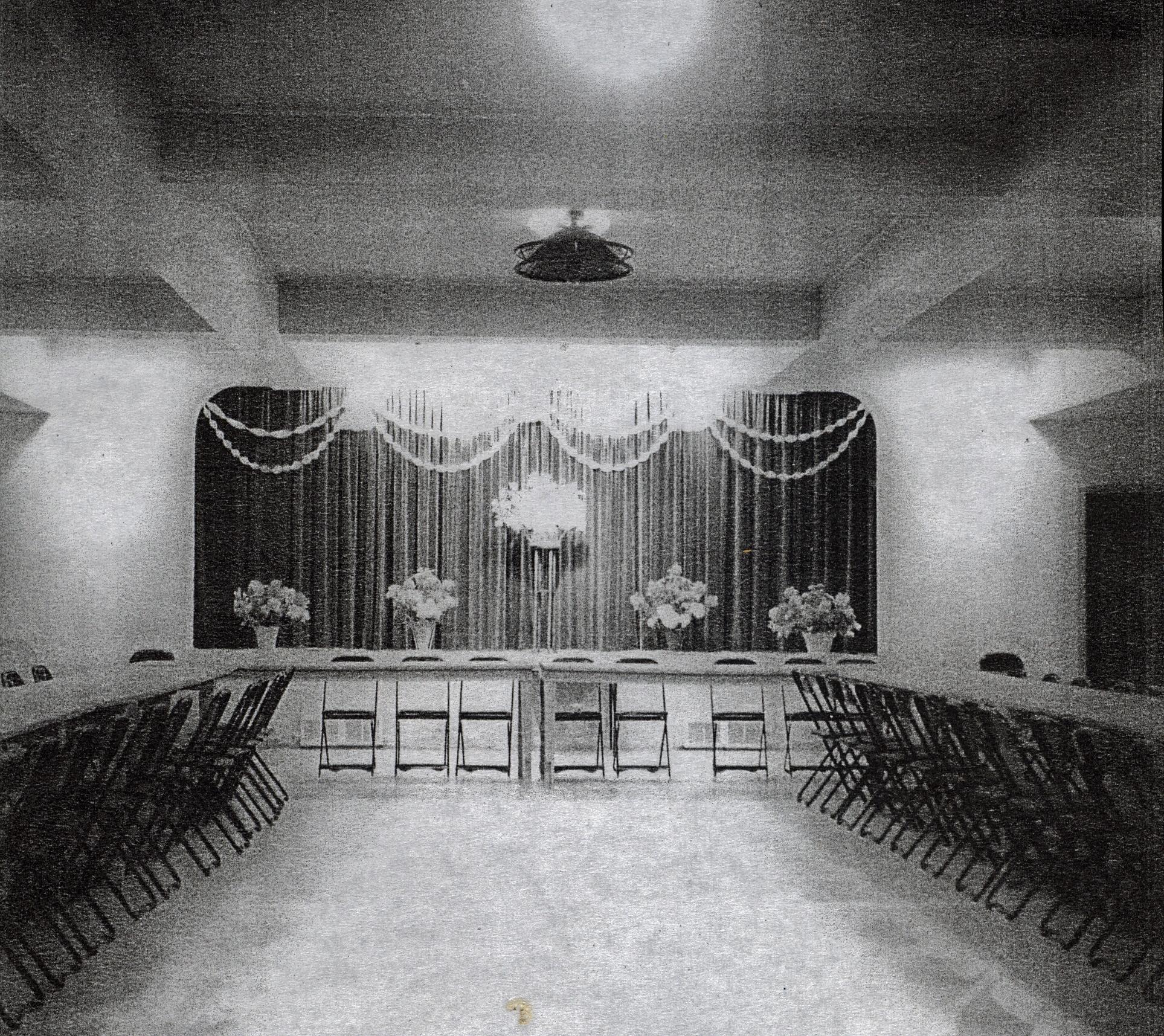 Roman Catholic Church Parish Hall, decorated for wedding of Bernard Doyle and Mary Shannon