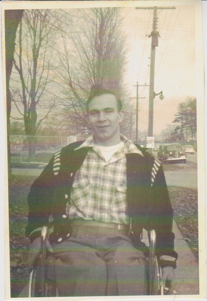 Elmer Hinds in front of St. Andrews United Church - 1959