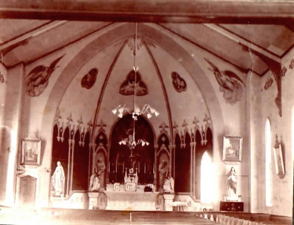 Interior of brick church built in 1875 - Sacred Heart - it later burned.