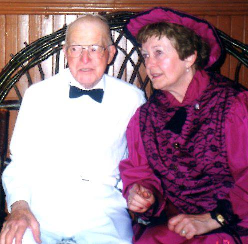 Mickey Maloney with Cousin Wilma at Seniors event in Marmora Town Hall - June, 1999