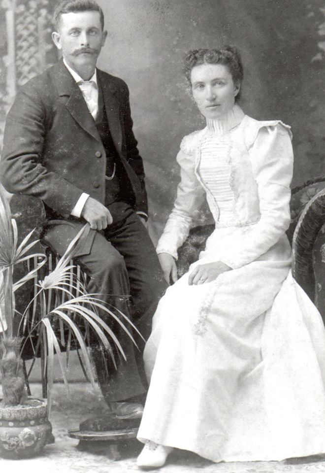 Mike & Maggie (Connors) Gallagher on wedding day (Dressed used for quilt)