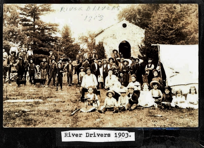"""NOTE IN THE BACKGROUND, ST. MATILDA'S CHURCH, CROWE RIVER  Marmora herald , june 27, 1907  """" Thompson and Co.;s drive of logs is being taken through here this week. The river drivers have pitched their tents on the west bank of the river near the old Catholic Church."""""""