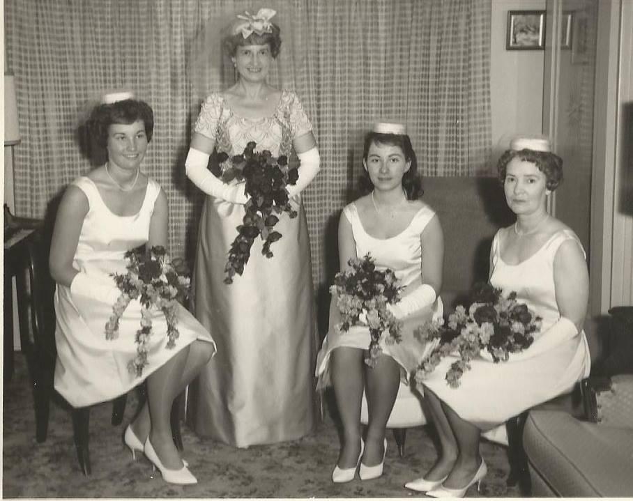 1963 Bill Fox and Flora Sanderson wedding. L-R Gloria Knowles (nee Fox), Flora Sanderson, Diane Williams (nee Fox), Bernice Sanderson