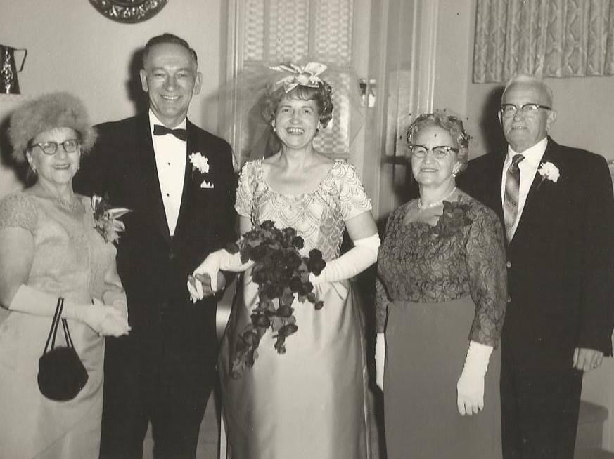 Bill Fox and Flora Sanderson Wedding Dec. 1963. L-R Margaretta Fox, Bill Fox, Flora Sanderson. The Fox Family Had a cottage on Crow Lake.