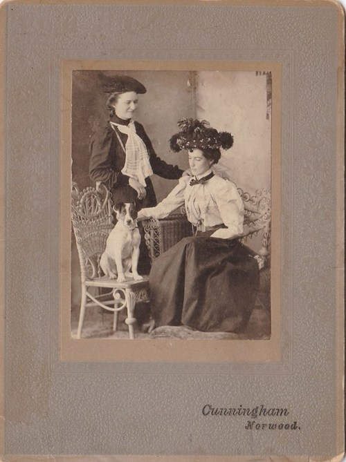 Ellen and Margaret O'Neill and their dog Ellen seated 1890's Marmora Ontario