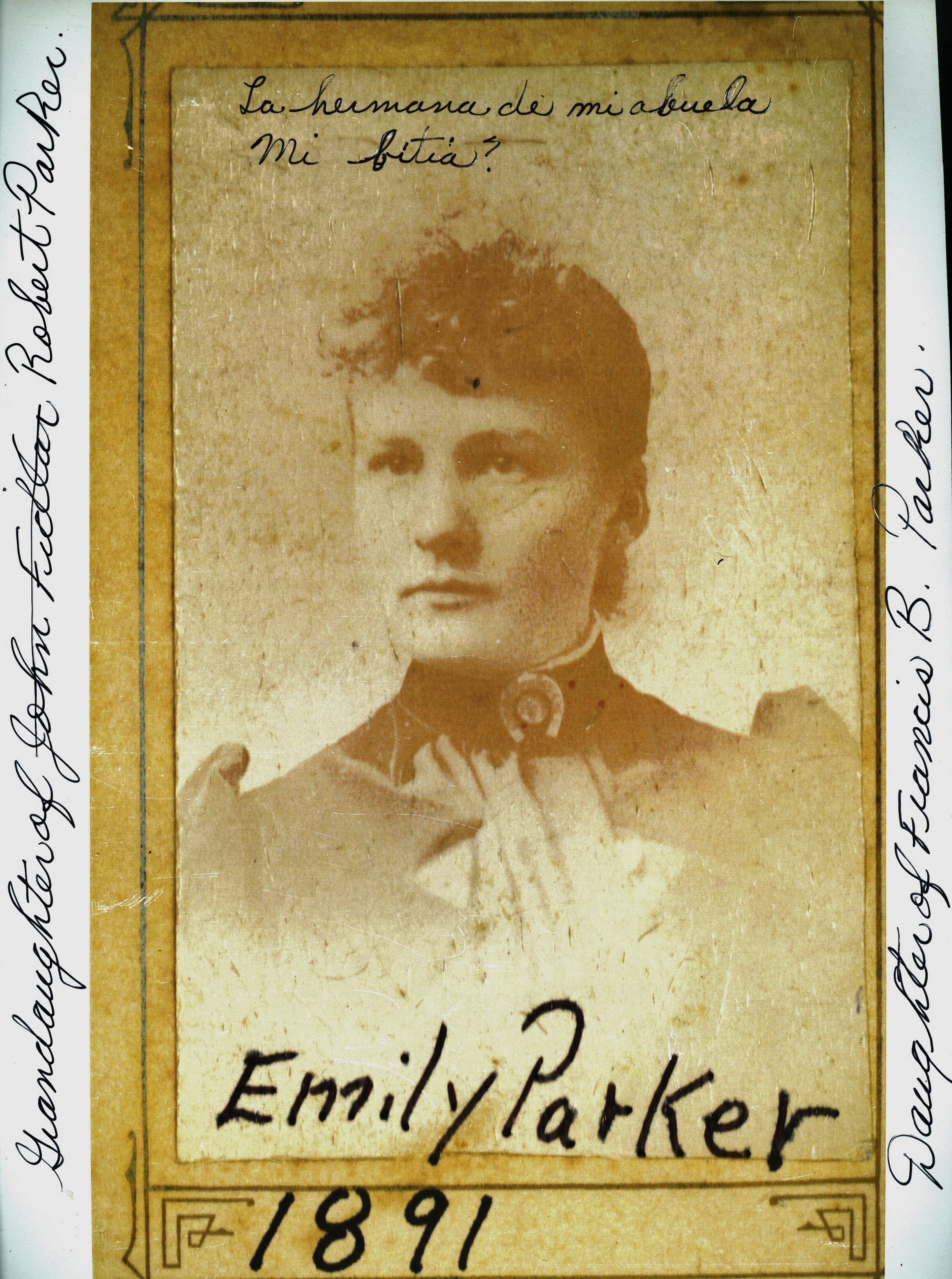Emily Parker,  accountant,  daughter of  Sarah Fidlar and Francis Parker