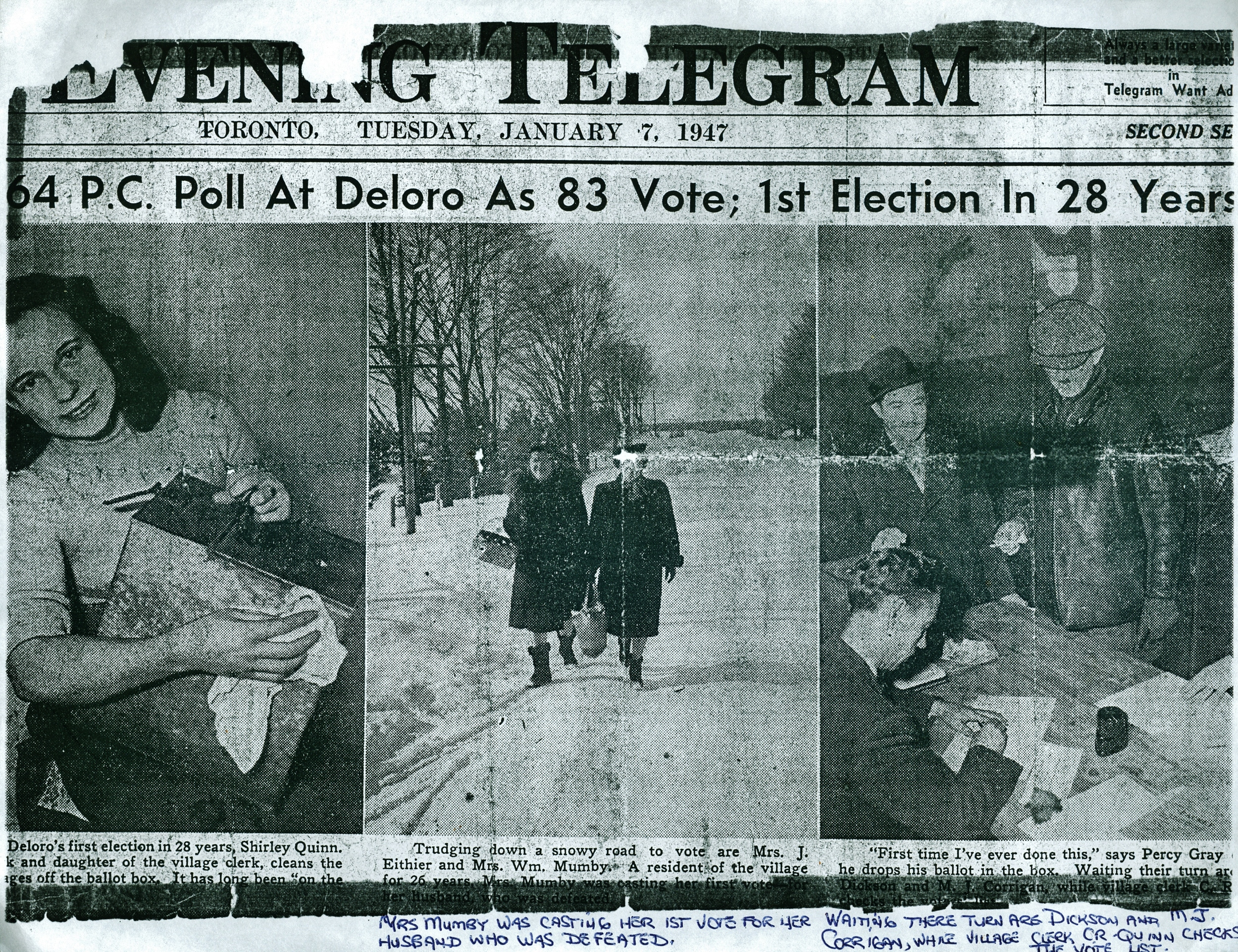 Election in Deloro 1947 S Quinn,  Mrs. J. Eithier,  Mrs. Wm Mumby,  Percy Gray,  Dickson,  M.J. Corrigan,  Clerk C.R. Quinn.jpg