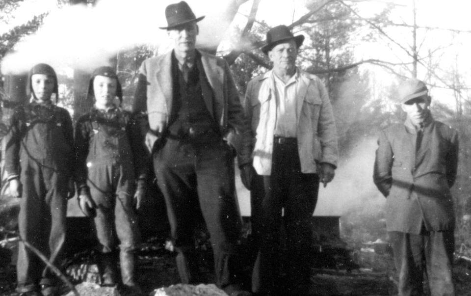 Boiling maple syrup at Marble Point, 1940