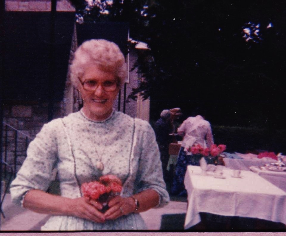 Mae Simmons at the Bicentennial tea - 1985 hosted by St. Paul's Anglican Church. Bill Simmons was the treasurer & bell ringer for many years.