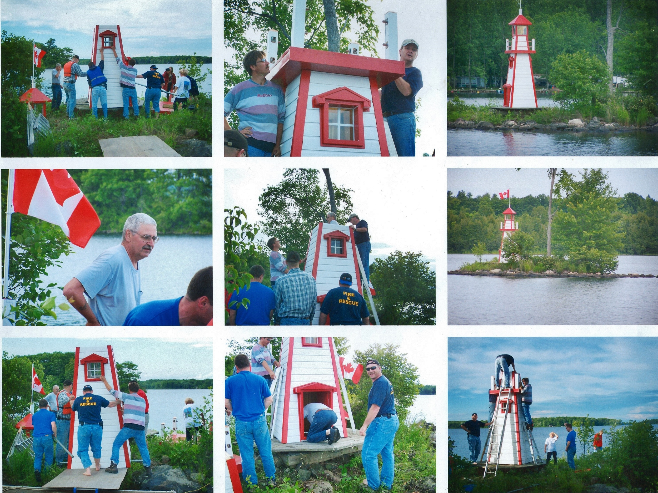 Blairton,  Crowe Lake,  Erecting the Lighthouse with the Fire Department.jpg