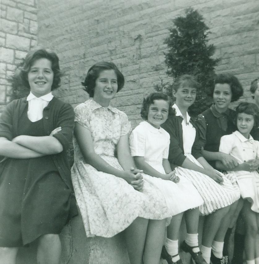 Sacred Heart School girls, Cathie Jones, Gail Bertrand, unknown, Janet Crawford, Ann VanVolkenburg, Jill Bertrand