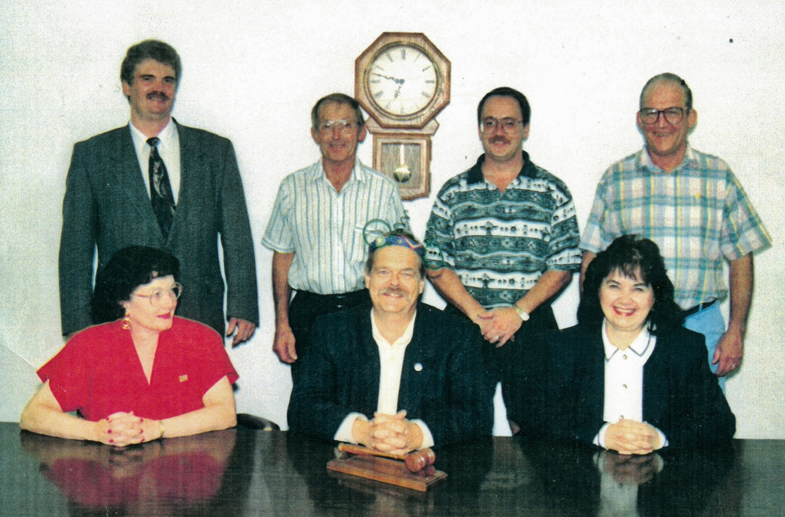 Village Council - Morris Mccaul, Garnie Brownson, Bob Kent, Russ Mitchell, Wilma (Brady) Bush, Reeve Andre Philpot, Clerk Carol Church