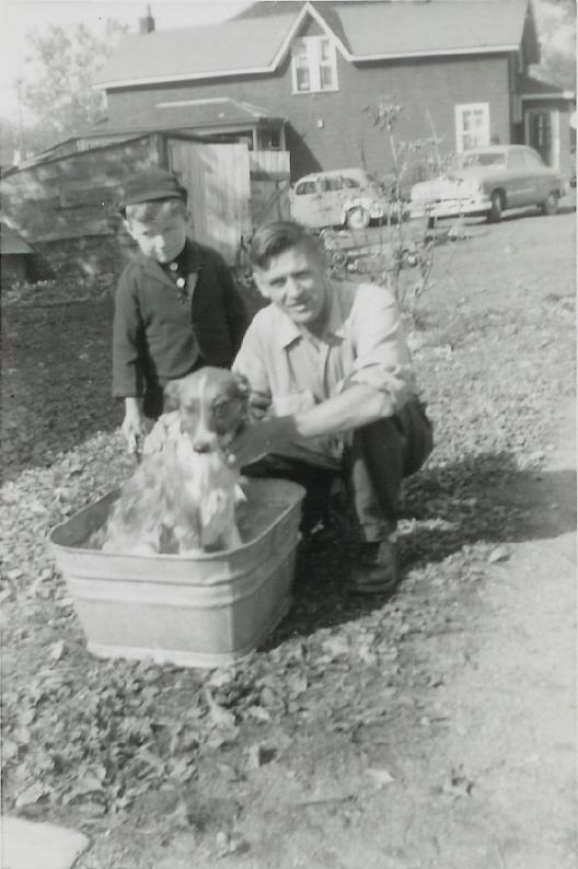1953, John VanVolkenburg with Jim Nickle and Laddie at 11 Main St.