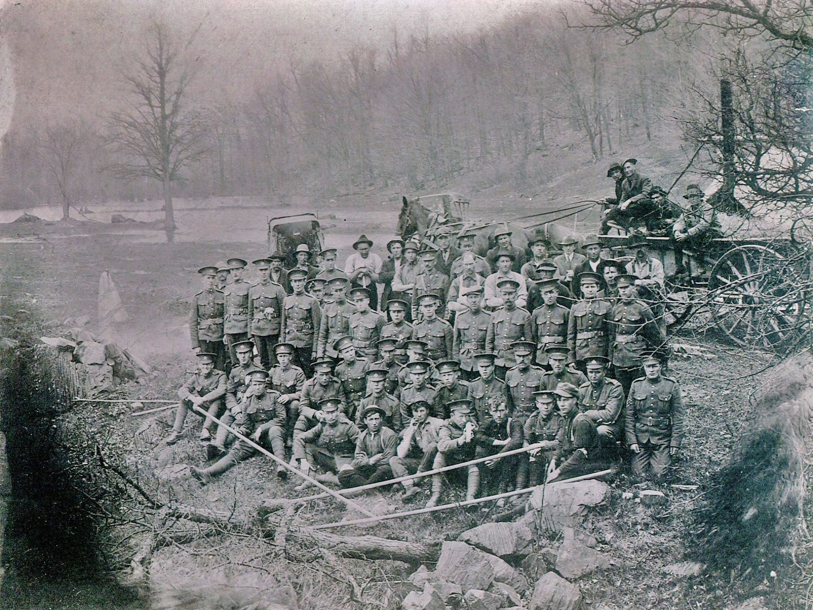 WW1 soldiers on Crowe River,  with Pearce Lumber drivers