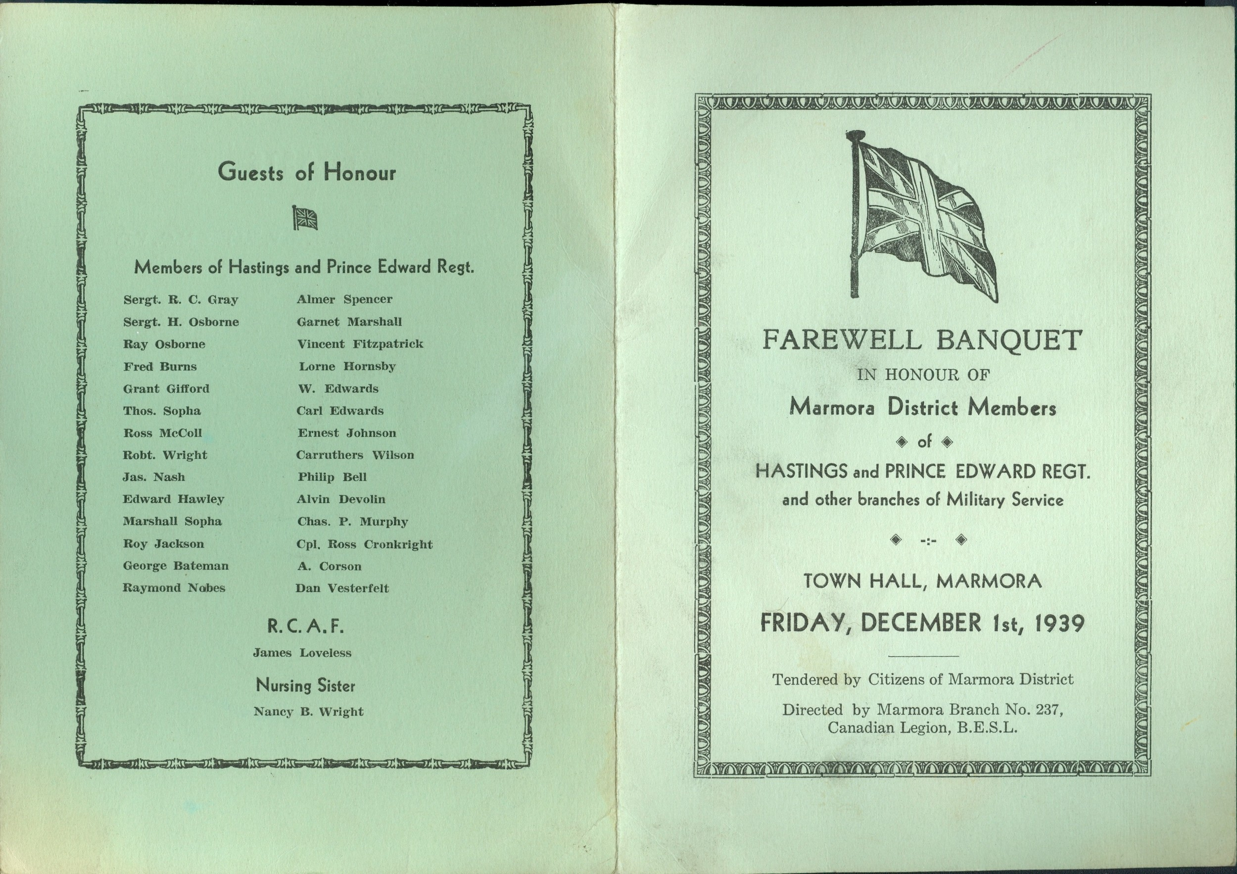 Farewell Banquet Program pg 1,  1939,